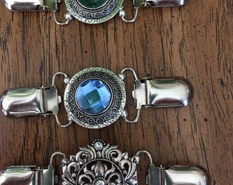 silver Cinch clips for dresses and sweaters