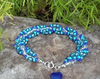 Blue & Silver Spiral Beaded Bracelet