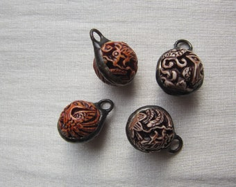 Hand Soldered Carved Ball Pendant