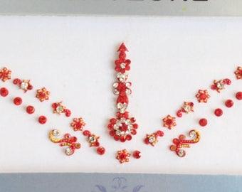 Bridal Forehead Red Bindi Stickers,Wedding Long Bindis,Bridal Red Bindis,India Bindi,Bollywood Bindi,Long Red Bindi,Self Adhesive Stickers