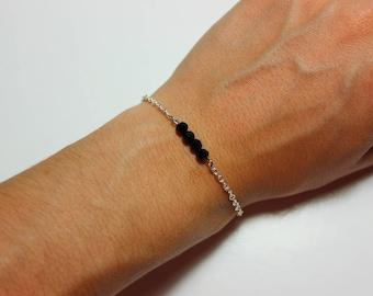 Dainty Black Beaded Chain Bracelet