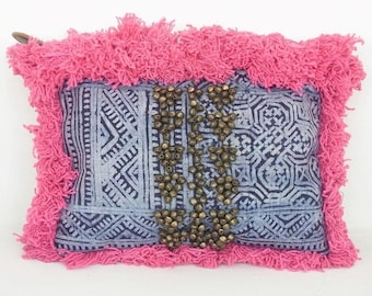 Pink Fringe Indigo Batik Clutch Decorative bells at front  With Zipper Closure full lining
