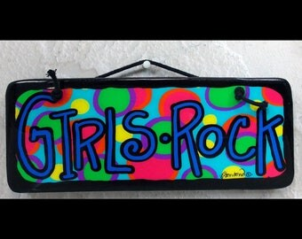 ss-009, Girls rock, epoxy resin art, archival pigment inks wall art, 4 inches by 10 inches