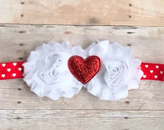 Valentine Headbands-Baby Headbands-Shabby Flower Headbands-Heart Headbands-Infant Headbands-Valentine Heart Headband-Baby Valentine Headband