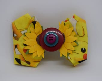 Pokemon Pikachu Sunflower and Buttons Hair Bow