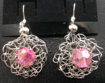 Dangle Earrings - Silver color wire crochet with an 8mm crystal glass pink center bead.