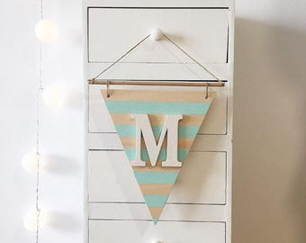 Customizable Wooden Pennant - Wood Wall Banner
