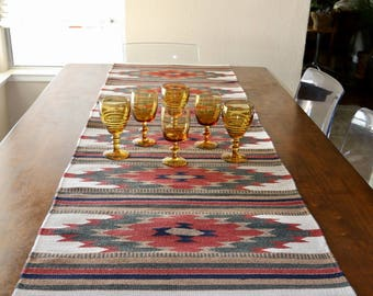 Vintage Woven Native American Table Runner, Wall Tapestry, Red, Green, Brown, Off White