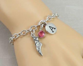 Ballet Slipper Charm Bracelet, Ballerina Dancer Bracelet, Initial and Birthstone Bracelet, Silver Plated Link Charm Bracelet