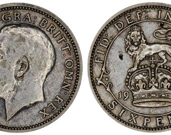 1925 George V silver sixpence coin of Great Britain