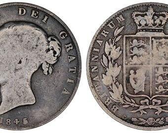 1845 Victoria halfcrown silver coin of Great Britain