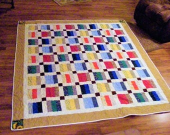 Multicolor Striped Quilt - Personalized Old Fashioned Quilt - Made in Arkansas - Full Size One of A Kind Handmade Quilt - Housewarming Gift