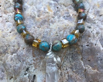 Crazy Blue Agget necklace