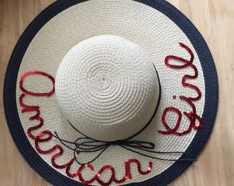 American Girl Sequin Sun Hat | Personalized Floppy Beach Hat