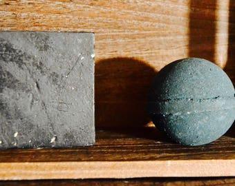 Into the Dark Gift Set- Homemade Gift Set, Bath Bomb Set, Activated Charcoal, Bath Bomb, Charcoal Soap, Black Soap, Black Bath Bomb