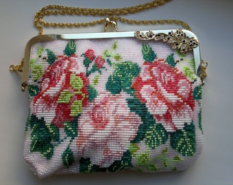Beaded handbag knitted for the bride.