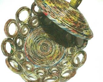 Nestling Bowl, Round Bowl, Paper Bowl, Decorative Bowl, Unique Paper Bowl, Vintage Home Decor, Handmade Paper Bowl, Recycled Paper Bowl