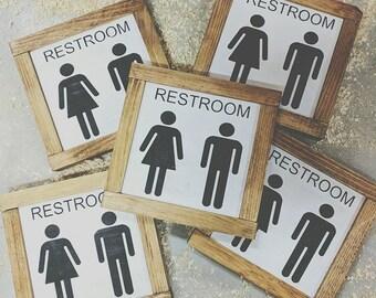 Bathroom signs, Farmhouse sign, restroom, boy/girl, gifts, bathroom decor, mini signs