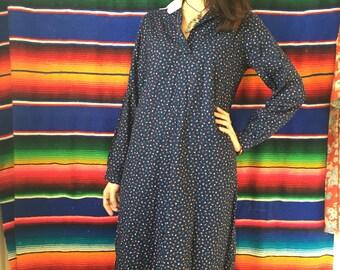 70s Floral Hippie Tunic Flower Power Cotton Day Dress Size Medium