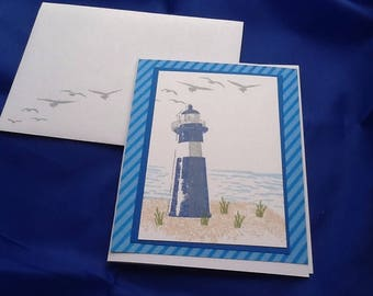 5 anniversary cards hand made hand stamped lighthouse scene cards