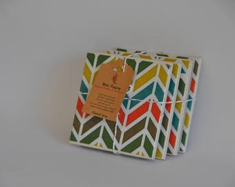 Chevron pattern ceramic tile coasters