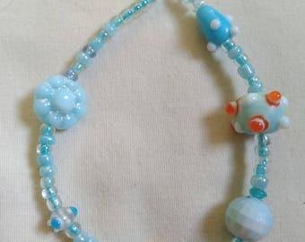 Whimsical blue bracelet