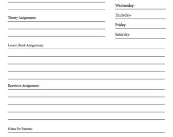 Weekly Practice Assignment Sheet