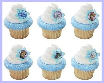 24 Frozen Cupcake Topper Rings