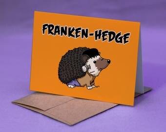 Hedgehog Halloween Card - FRANKEN-HEDGE - Hedgehog Frankenstein Halloween Card - Hedgehog Happy Halloween Card