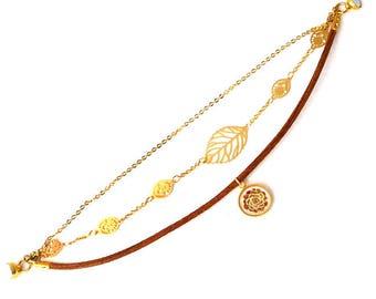 """Bracelet Multirangs Aiyana : bijou femme laiton doré, cuir et cabochon, chaîne motifs feuille, illustration plante grasse """"Echeveria"""""""
