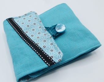 Protects checkbook turquoise blue origami in cotton and linen