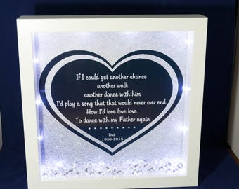 Dance with my Father again box frame with lights & crystals, made to order