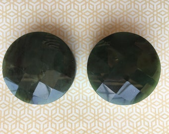 2 inch Faceted Green Jade Plugs