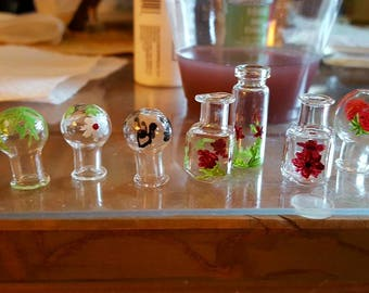 glass pendants - hand enameled fillable necklaces jewelry