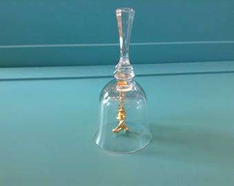 Disney Marching Mickey Mouse crystal bell with a gold marching Mickey Mouse for a clapper