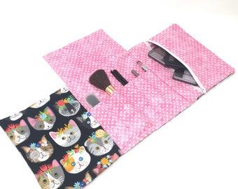 Makeup Brush Roll, Makeup Brush Holder, Makeup Brush Bag Holder, Makeup Brush Bag, Makeup Bag with Brush Holder, Makeup Organizer, Cat, Cats