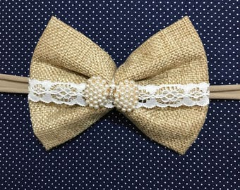 Burlap bow with pearl bow Gem