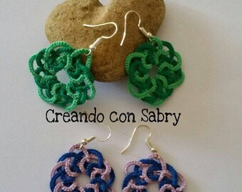 Plaited earring/earrings to tatting/Tatting/Jewelry/Handmade/handmade/Creations/gift ideas