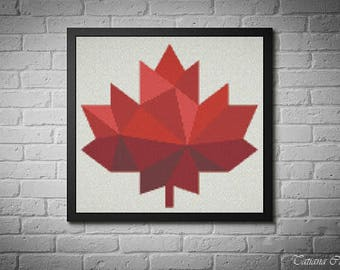 Canada cross stitch pattern, Maple leaf cross stitch, Red leaf modern cross stitch pattern, modern geometric, pdf instant download. #018