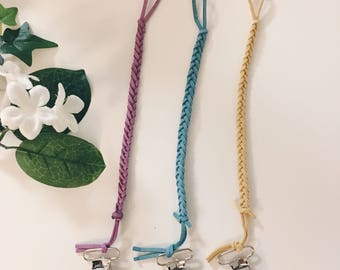 Braided pacifier clips