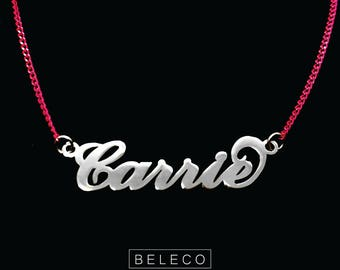 Carrie Style Necklace Name With Multi Color Chain - Pink, Blue. Yellow, Orange, Purple, Personalized Name Necklace, Custom Name Necklace