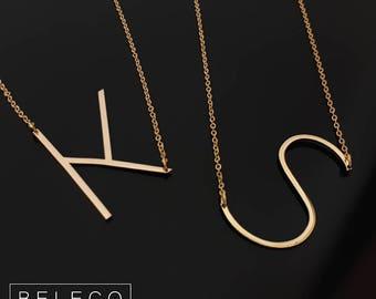 Sideways Letter Necklace, Big Initial Necklace, Big Letter Necklace, Alphabet Necklace, Oversized Initial Necklace, Initial Letter Jewelry