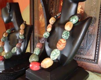 Multicolored River Stone Necklace