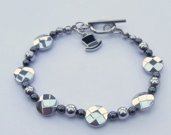 Silver plated and black haematite bracelet