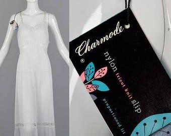 SALE XXLarge 1960s Plus Size White Lace Lingerie Deadstock Vintage 60s Full Slip Nylon Crystal Pleats Intimates