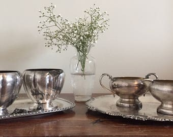 VIntage 6 Piece E.P. Copper Coronel Serving dishes and Creamer Set | Silver Set | Silver Servingware | Vintage Tea Party | wedding