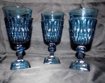 Indiana Mt Vernon Blue Goblets - Set of 3
