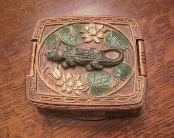 Vintage Alligator themed Chalkware Trinket box