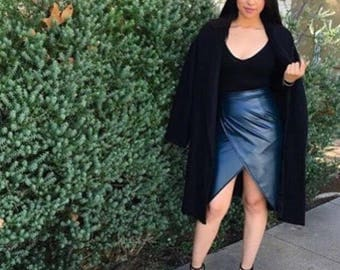 Dark green faux leather wrap skirt
