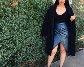 Dark green faux leather wrap skirt